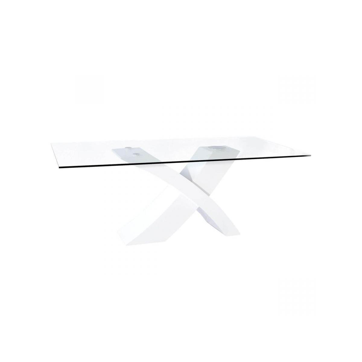 Subleem SUBLEEM Table en verre TOSCANE 200 x 74 x 100 cm laqué blanc