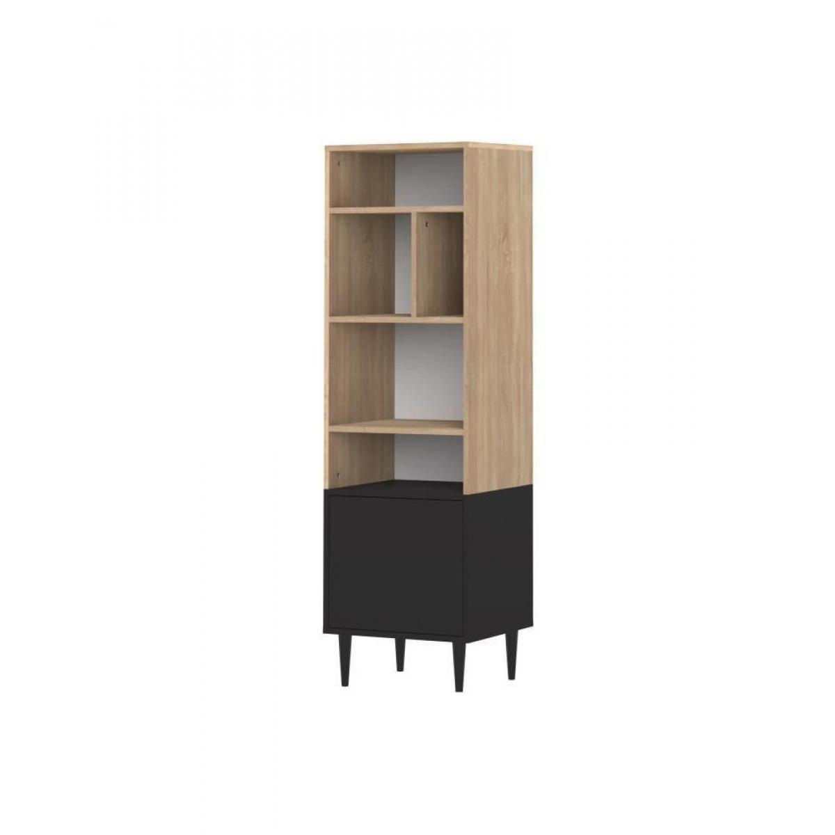 Symbiosis SYMBIOSIS Bibliotheque HORIZON style contemporain - Décor chene naturel et noir - L 46,55 cm