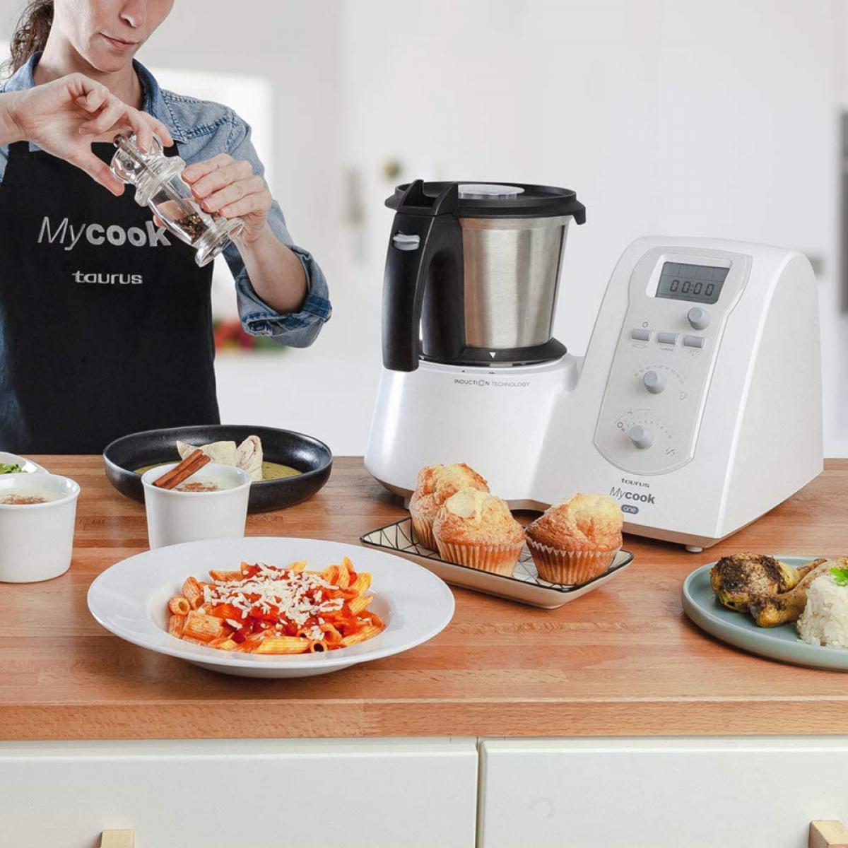 Taurus robot de cuisine multifonction de 2L jusqu'à 120 degrés et plus de 7400 recettes 1600W gris noir blanc