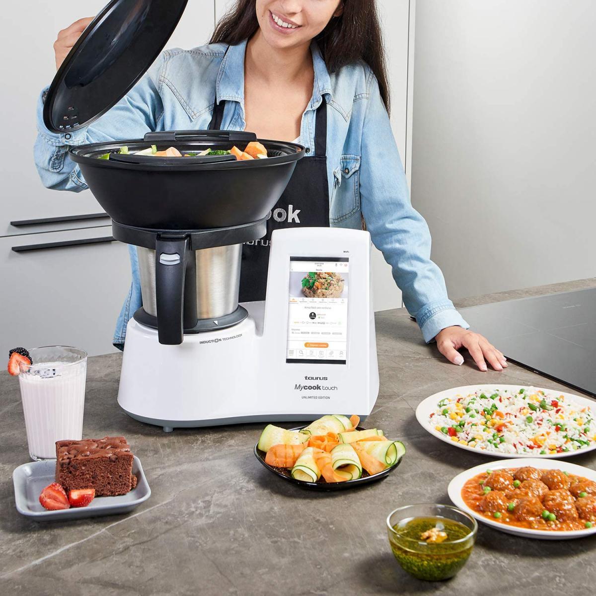 Taurus robot de cuisine multifonction de 2L jusqu'à 140 degrés et plus de 10000 recettes 1600W gris noir blanc