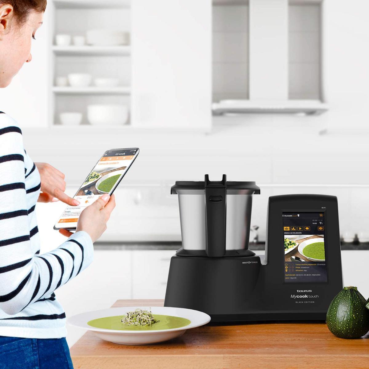 Taurus robot de cuisine multifonction de 2L jusqu'à 140 degrés et plus de 8 000 recettes 1600W gris noir