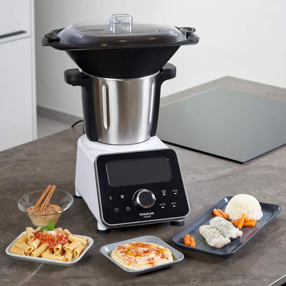 Taurus robot de cuisine multifonction de 3,5L avec 31 fonctions et balance intégrée 1500W gris noir