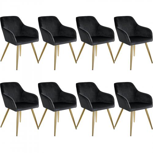 Tectake - 8 Chaises MARILYN Effet Velours Style Scandinave - noir/or - Tectake