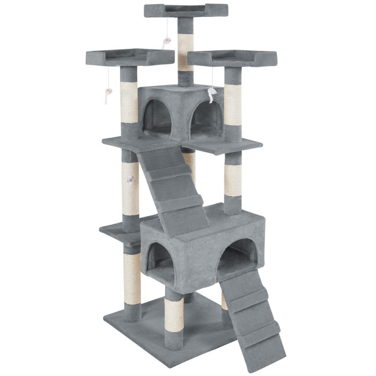 Tectake Arbre à chat BARNEY 170 cm - gris