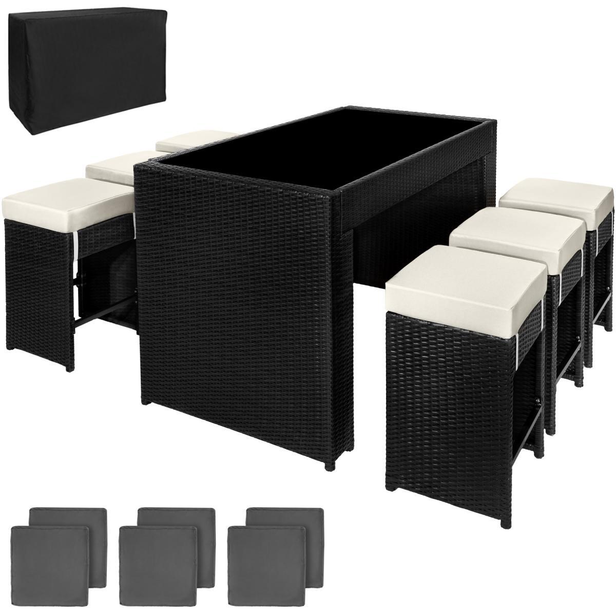 Tectake Salon de jardin CAPRI 6 places avec 2 sets de housses + housse de protection - noir