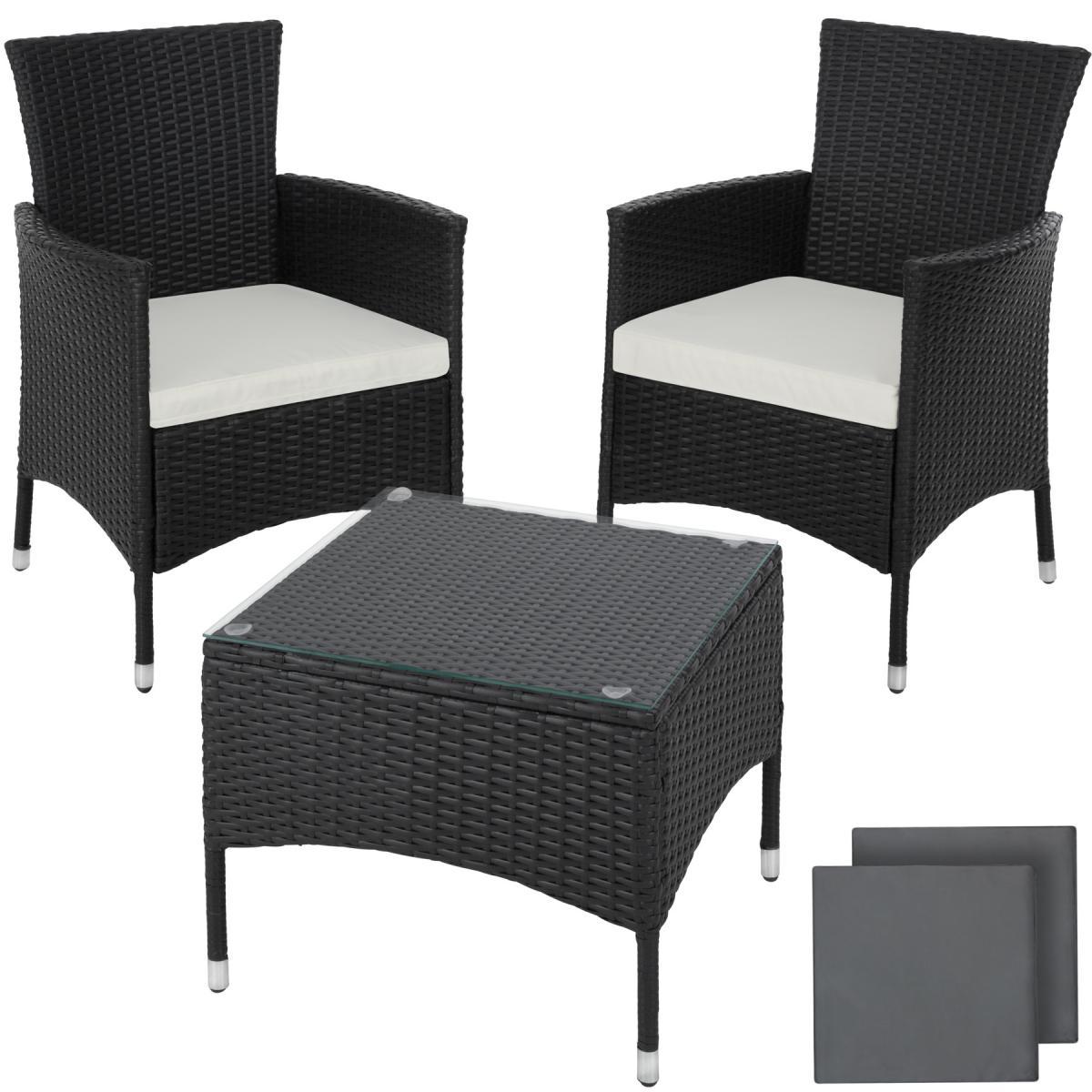 Tectake Salon de jardin LUCERNE 2 places avec 2 sets de housses - noir