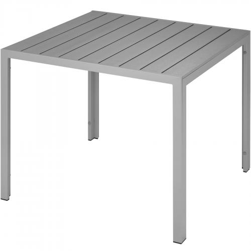 Tectake - TECTAKE Table de Jardin Carrée, Table d'Extérieur, Table de Salon, de Terrasse Design en Aluminium 90 cm x 90 cm x 74,5 cm Gris - Tables de jardin