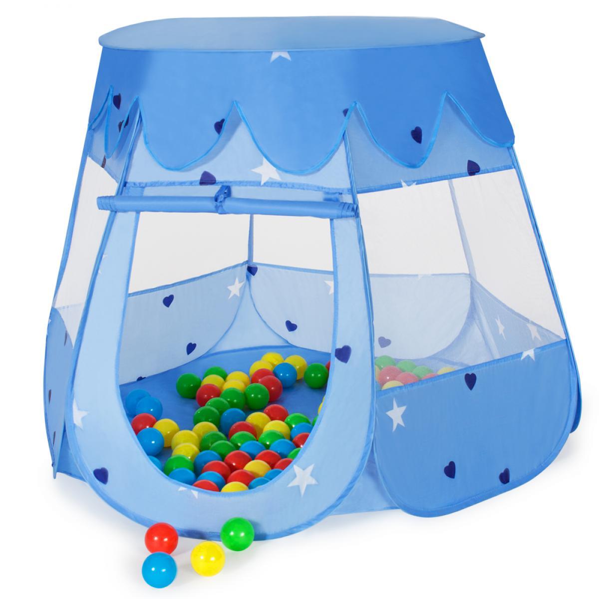 Tectake Tente enfant, à balles + 100 Balles + Sac de transport - bleu