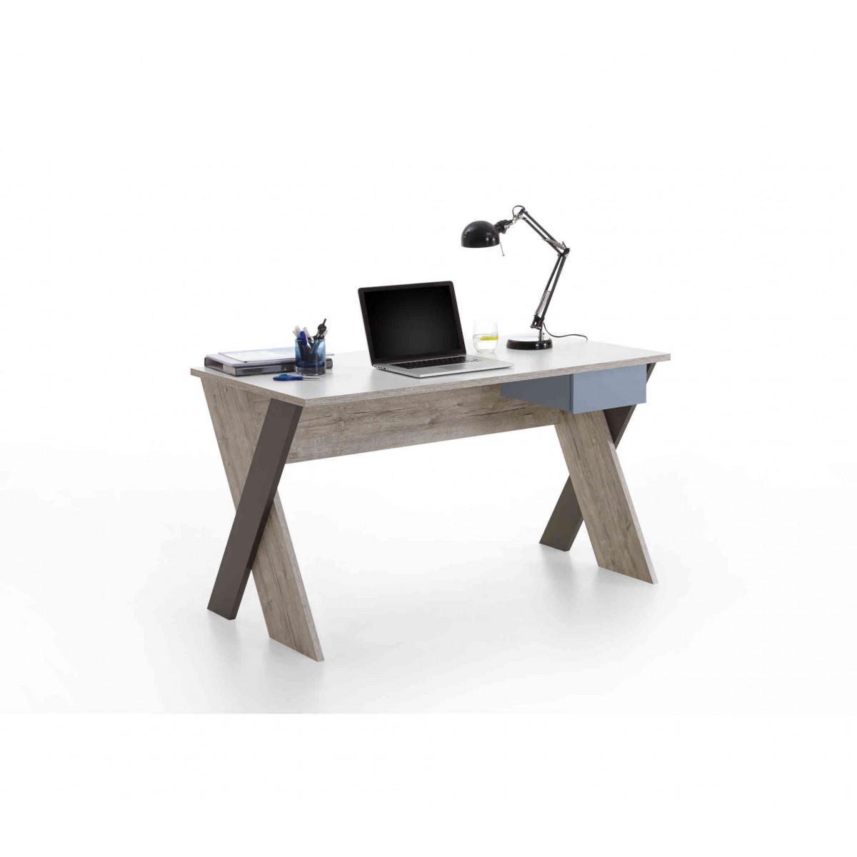 Terre De Nuit Bureau enfant 1 tiroir en bois imitation chêne sable - BU13028
