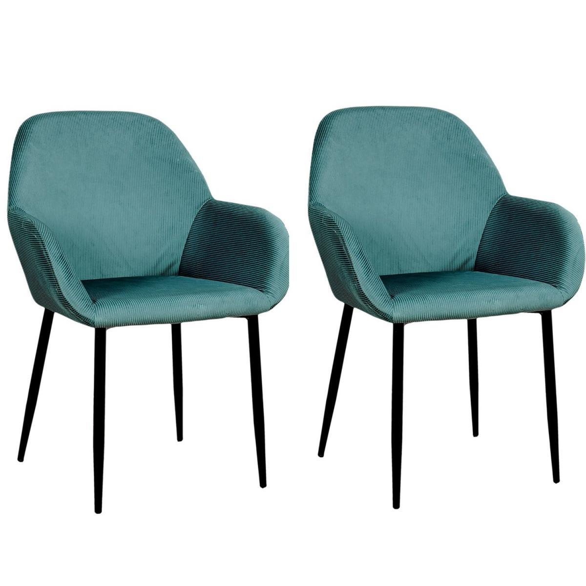 The Home Deco Factory 2 Fauteuils de table design velours Giulia - Bleu canard