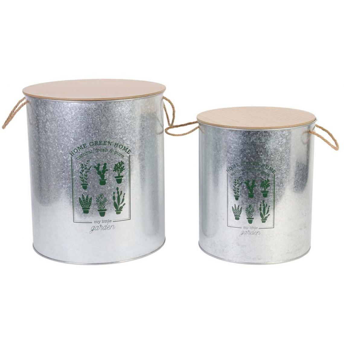 The Home Deco Factory Corbeilles coffres en métal My Little Market (Lot de 2)