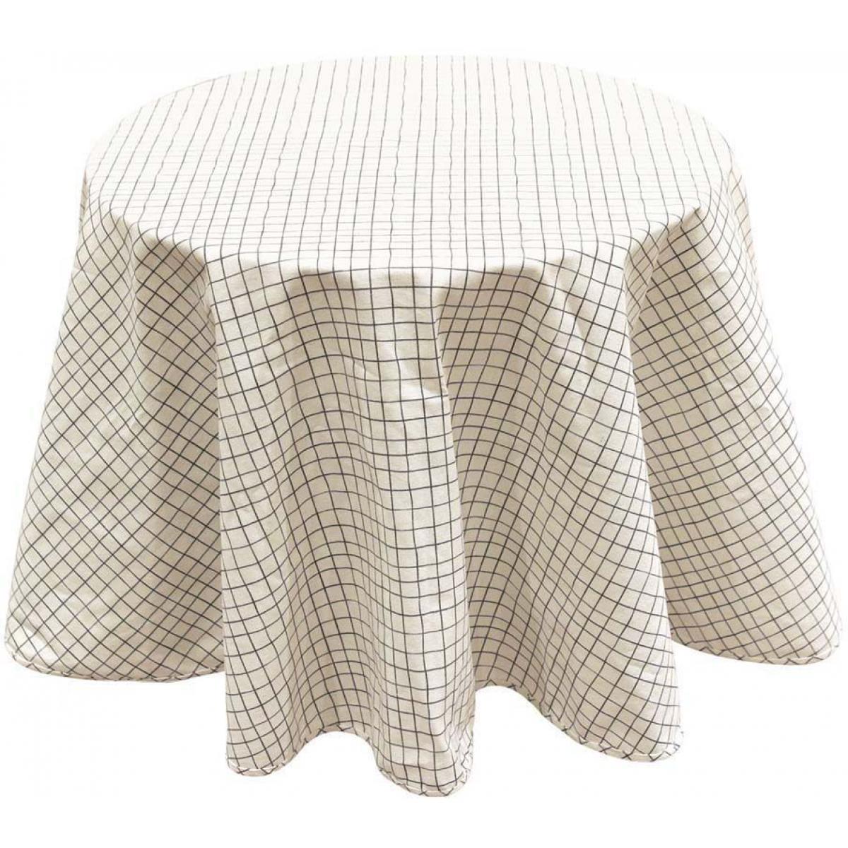 The Home Deco Factory Nappe à motifs pour table ronde 180 cm Quadrillage