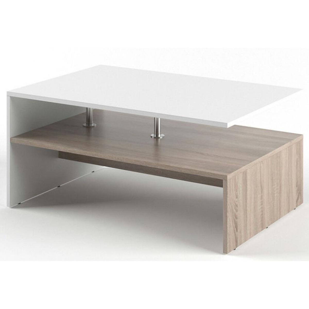 Toilinux Table basse rectangulaire design scandinave Isidor - L. 90 x H. 42 cm - Couleur bois et blanc