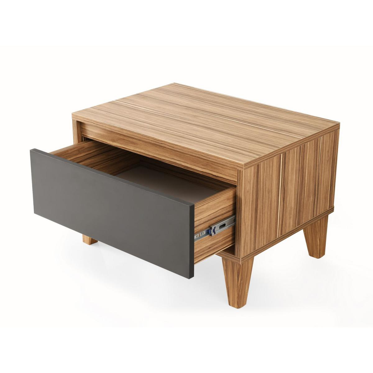 Toilinux Table de chevet design bois Samba - L. 60 x H. 44 cm - Gris anthracite