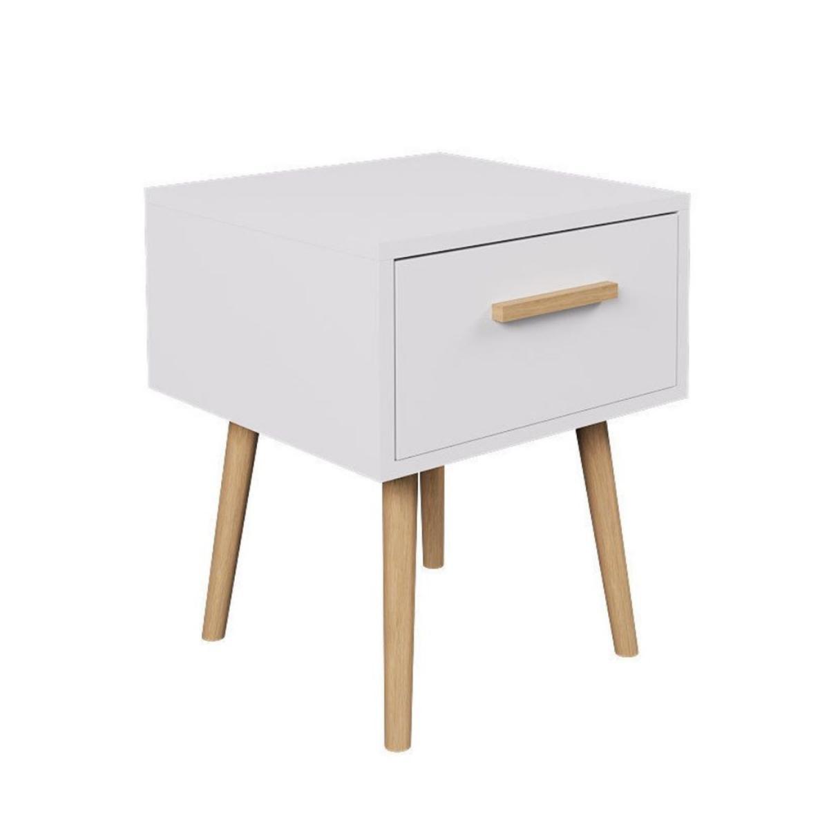 Toilinux Table de chevet design scandinave Edwing - L. 40 x H. 50 cm - Blanc et bois