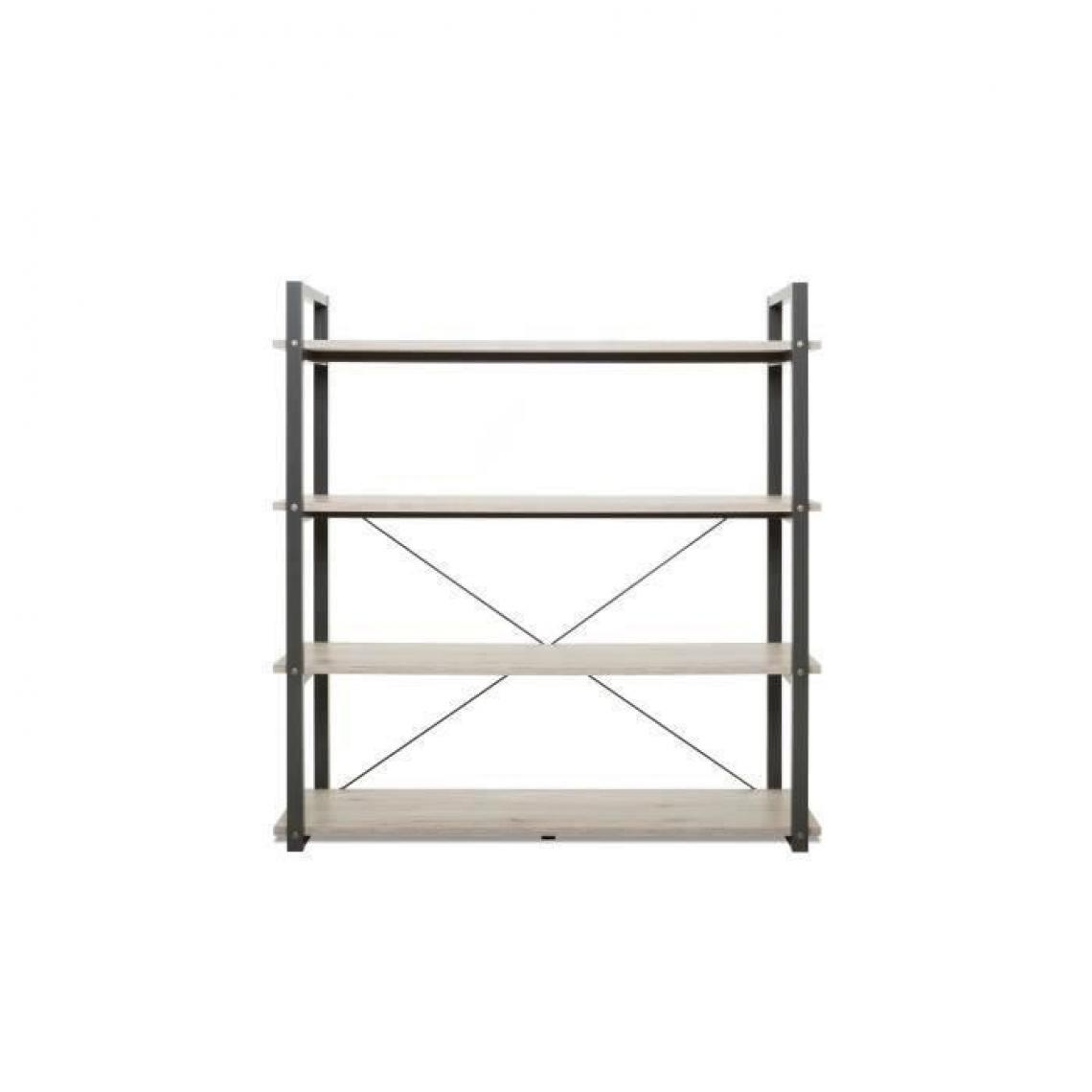 Topdeco BROOKLYN - Bibliotheque style industriel decor chene et anthracite - L 138 cm