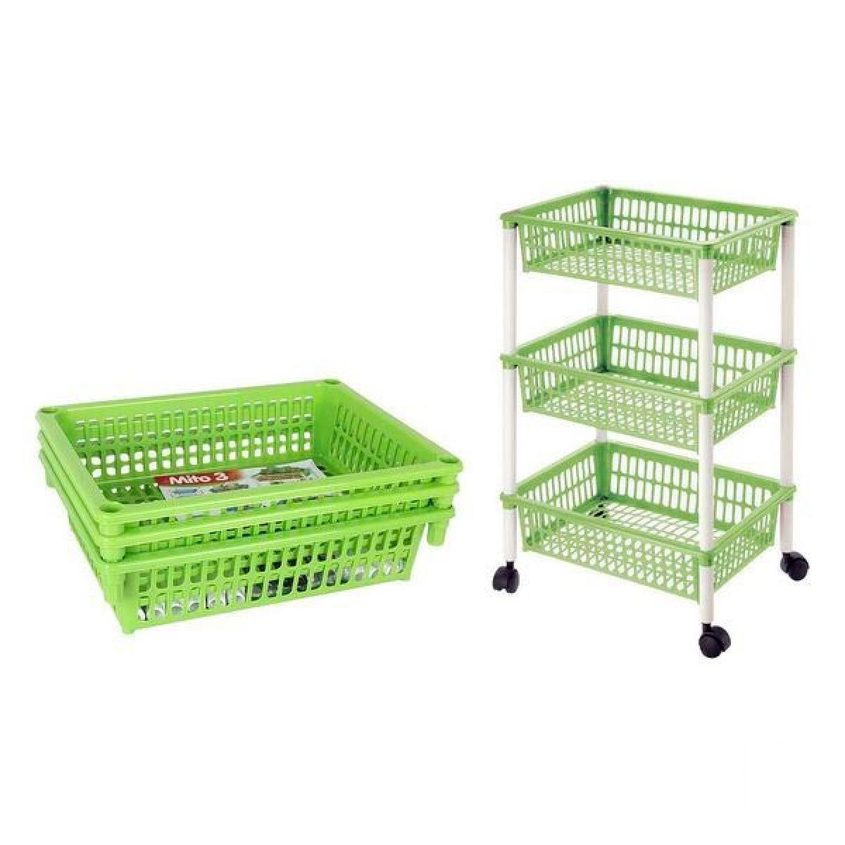 Totalcadeau Chariot à légumes démontable en plastique 3 tiroirs avec roues (40 X 29 x 62 cm) Couleur - Bleu