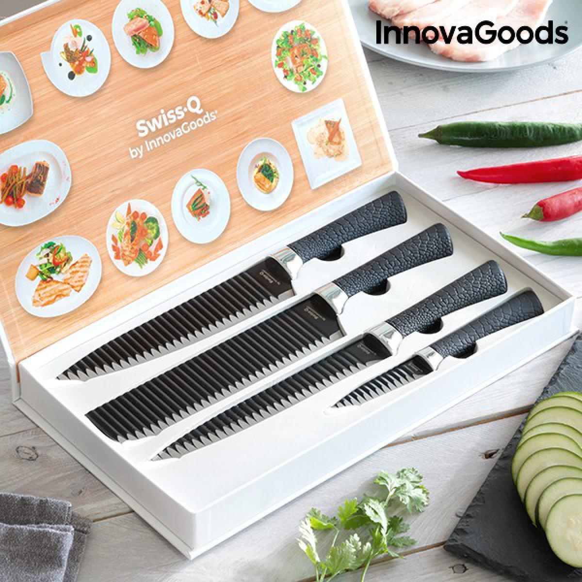Totalcadeau Coffret 4 Couteaux de cuisine en acier inoxydable (4 Pièces) - Ondulation sur les lames, les aliments ne se collent pas