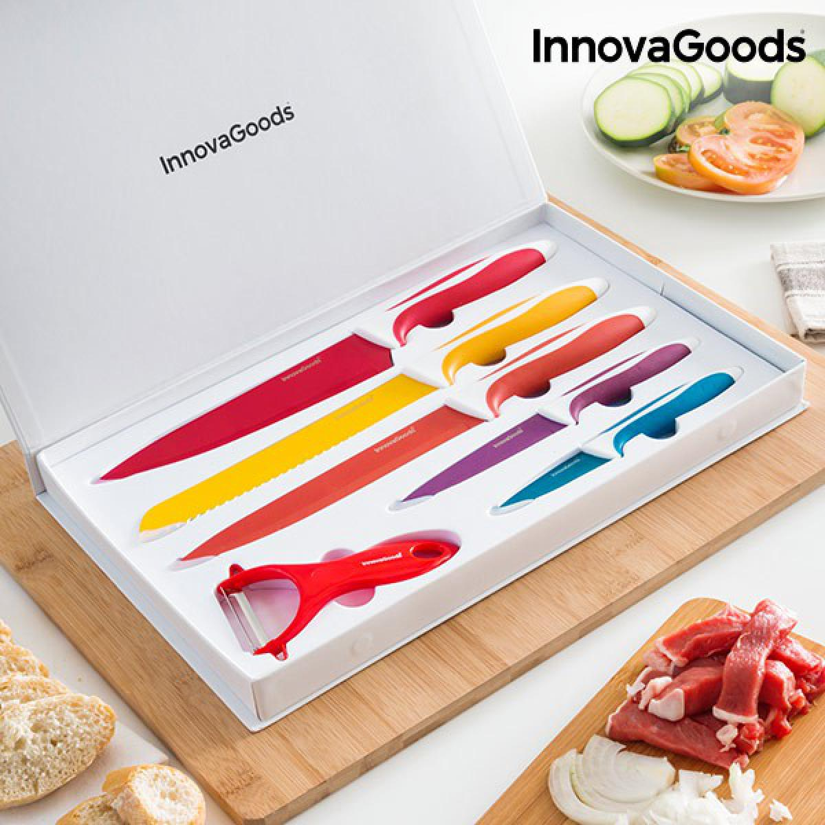 Totalcadeau Ensemble de couteaux et éplucheur en acier inoxydable avec revêtement en céramique (6 pièces) - Kit Professionel couteau