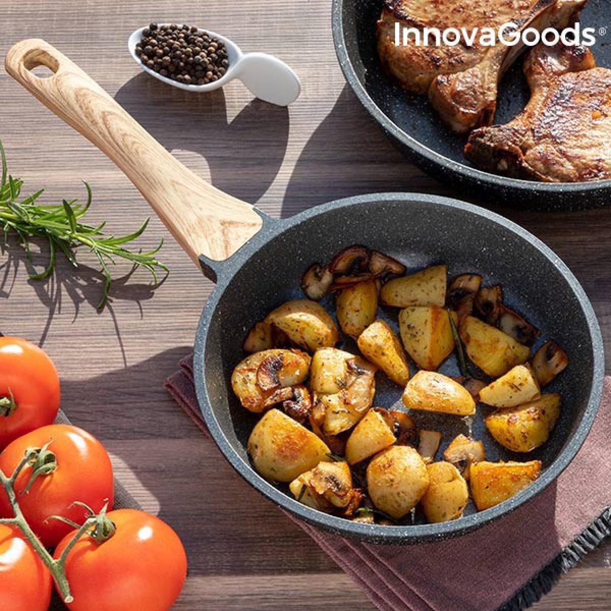 Totalcadeau Poêle en aluminium forgé avec revêtement effet granite (20 cm) - Compatible avec tous type de cuisiniere Pas cher