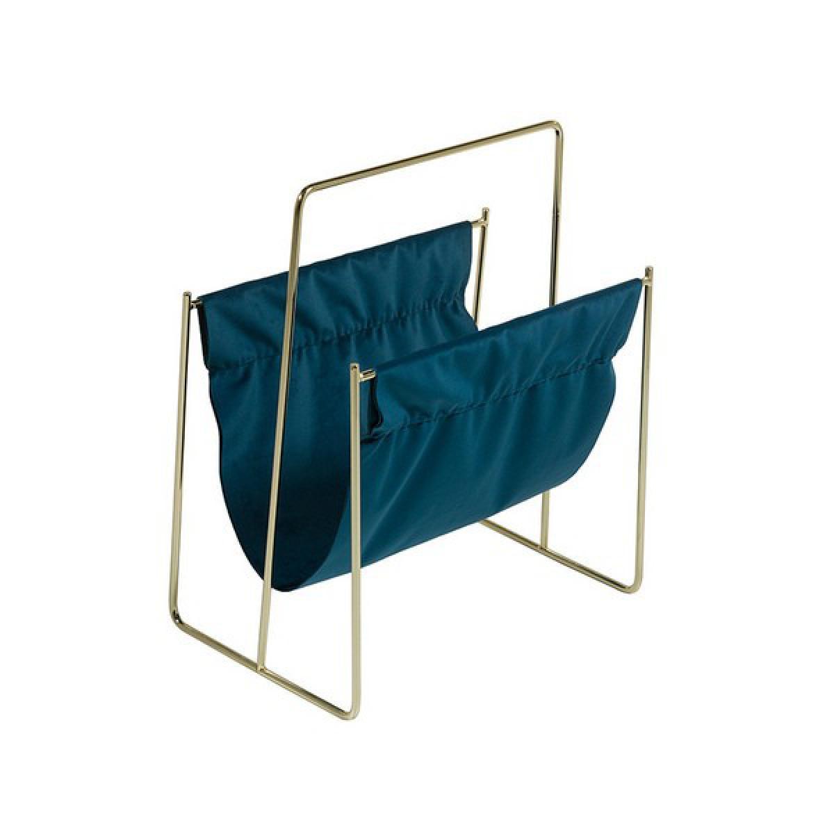 Totalcadeau Porte-revues avec structure en Laiton Velours (40 X 26 x 48 cm) - Range revues design Pas cher