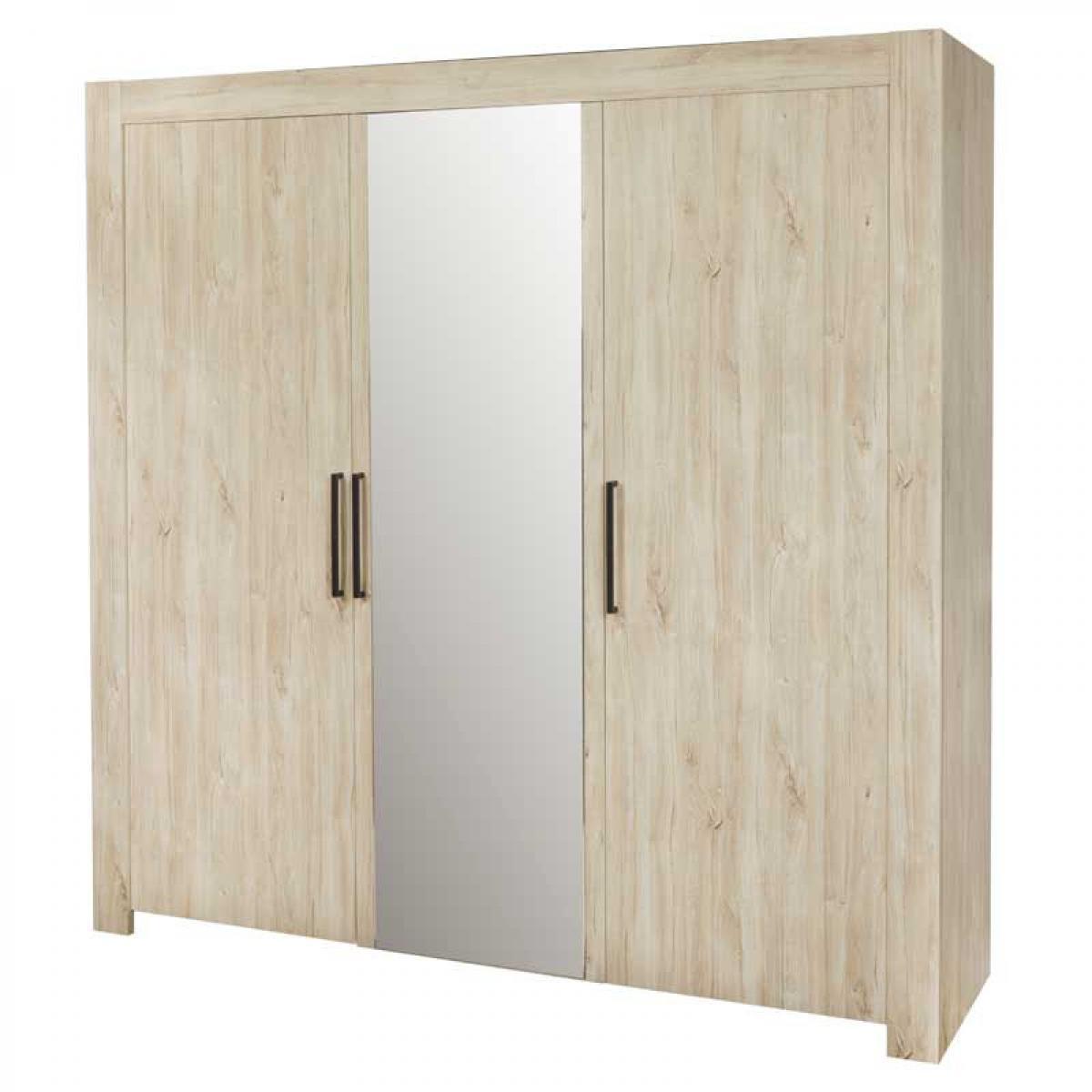 Tousmesmeubles Armoire 3 portes avec miroir Chêne Délavé - YVI