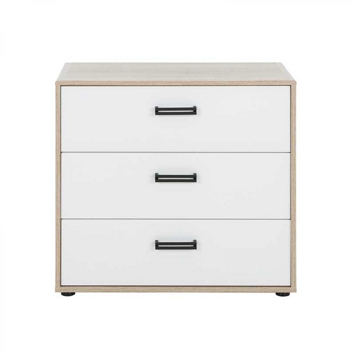 Tousmesmeubles Commode 3 tiroirs Chêne/Blanc - SPORTY
