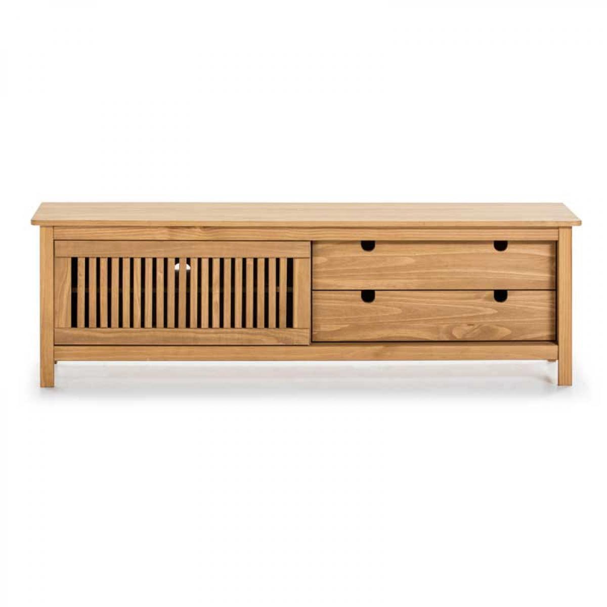 Tousmesmeubles Meuble TV 1 porte coulissante 2 tiroirs Bois - BRANU