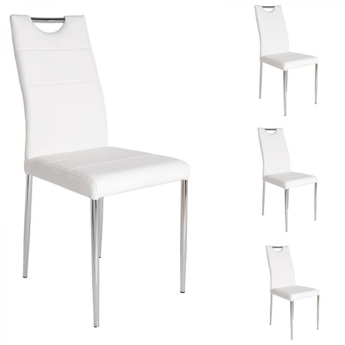 Tousmesmeubles Quatuor de Chaises Simili cuir Blanc - APOLLINE