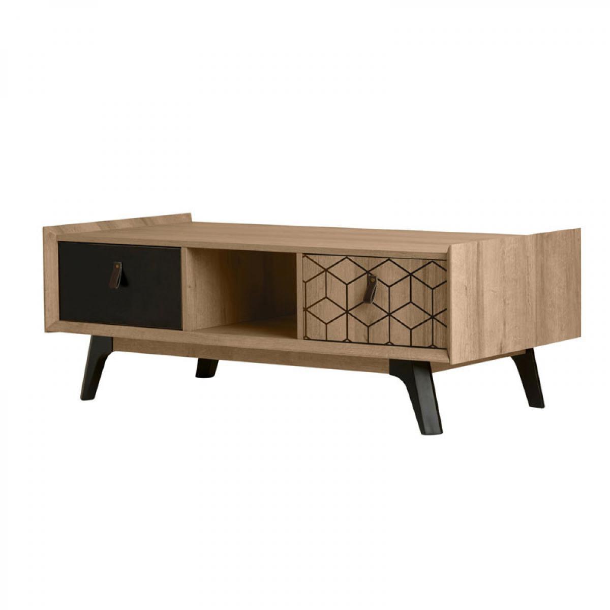 Tousmesmeubles Table basse 2 tiroirs Noir laqué/Bois - NATHAN
