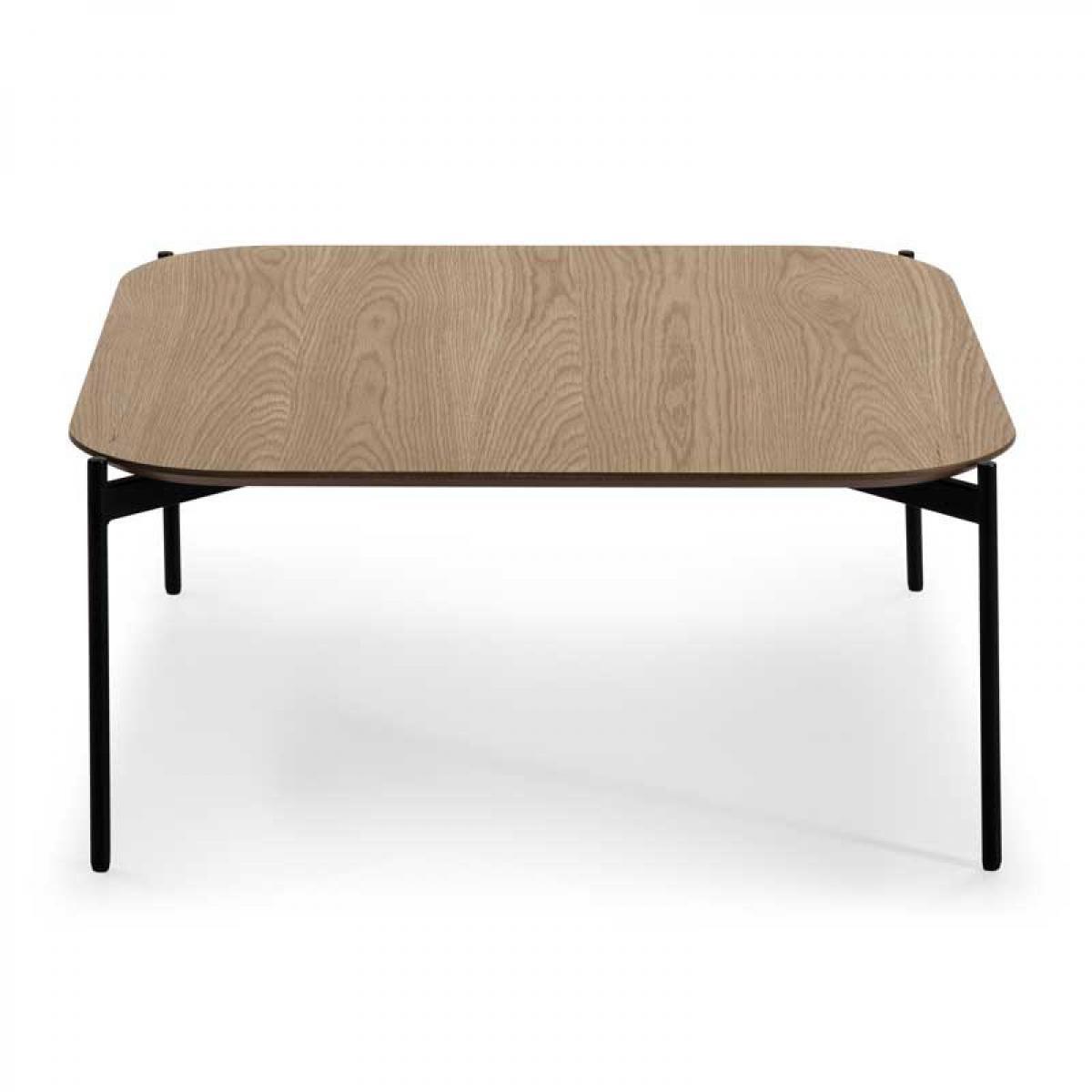 Tousmesmeubles Table basse carrée Chêne/Noir- RADIA