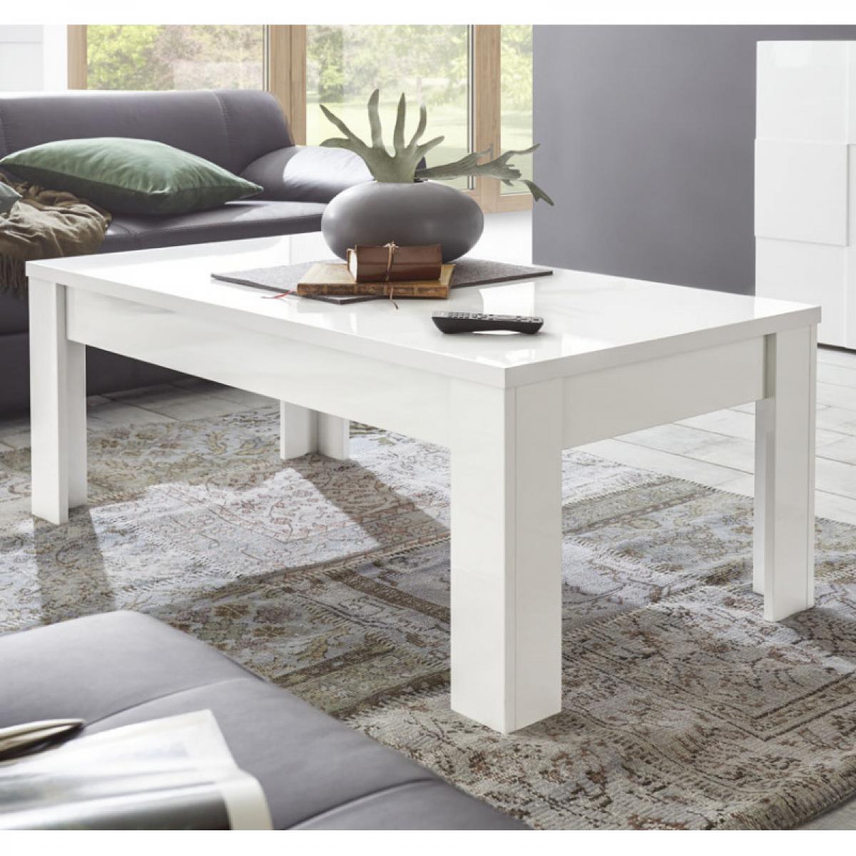 Tousmesmeubles Table basse laqué Blanc brillant - TICATO