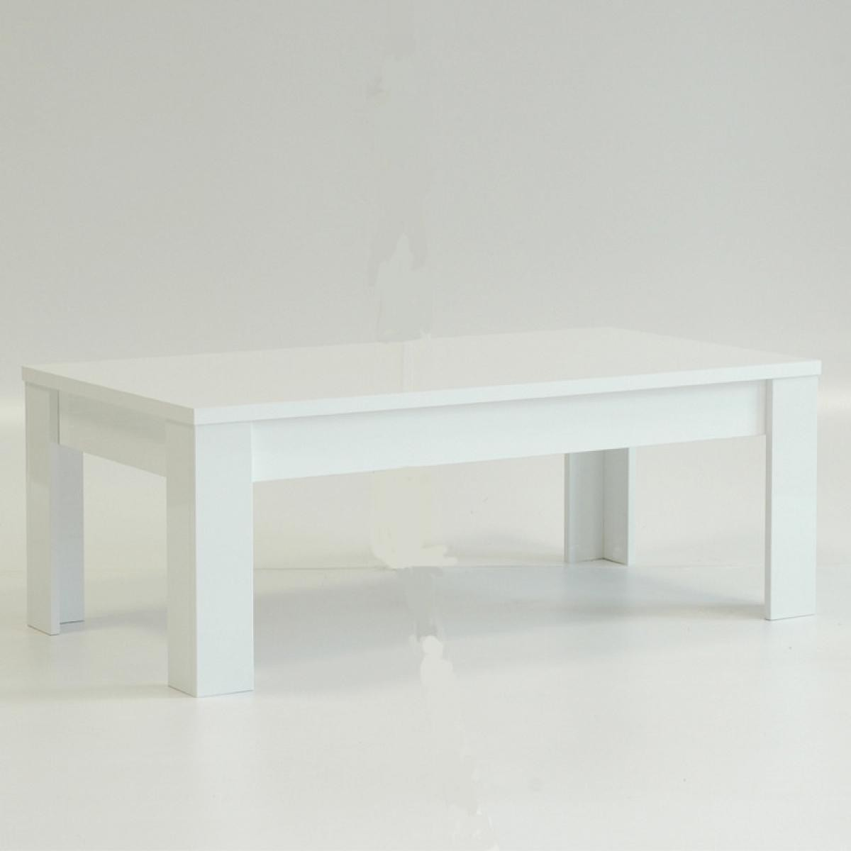 Tousmesmeubles Table basse laqué Blanc brillant - TRANI