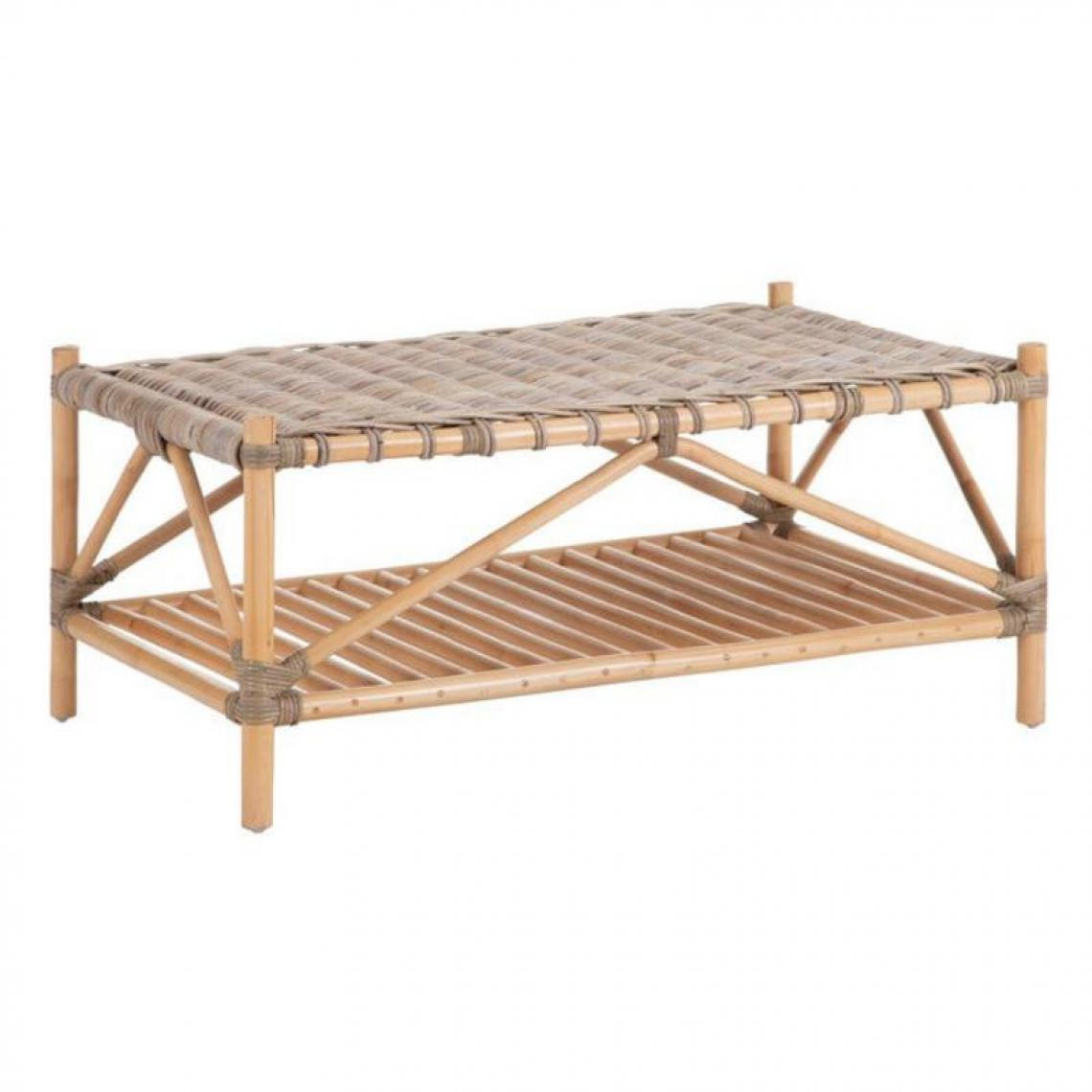 Tousmesmeubles Table basse rectangulaire en Rotin tressé - EKE