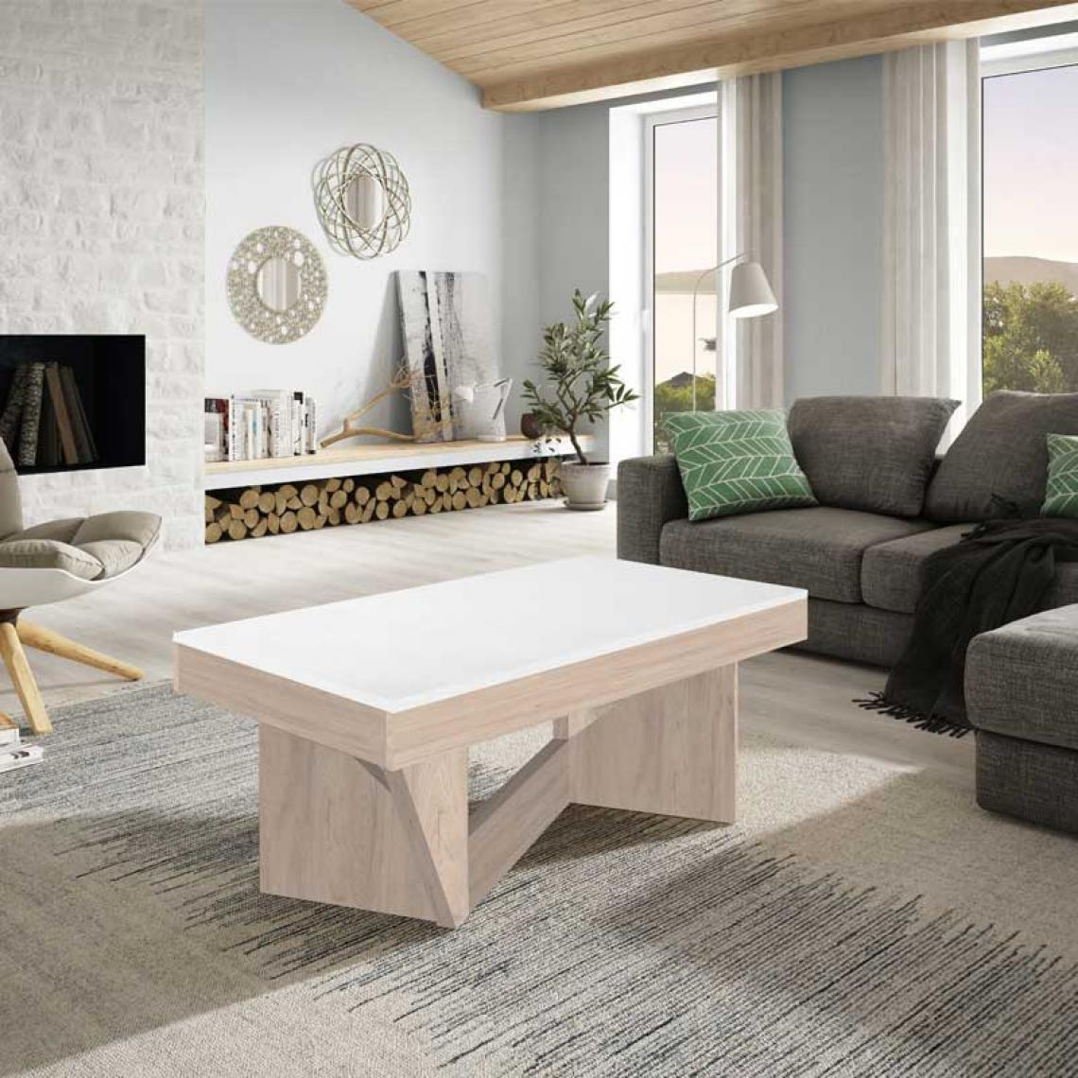 Tousmesmeubles Table basse relevable Chêne blanc/Marbre blanc - POPLO