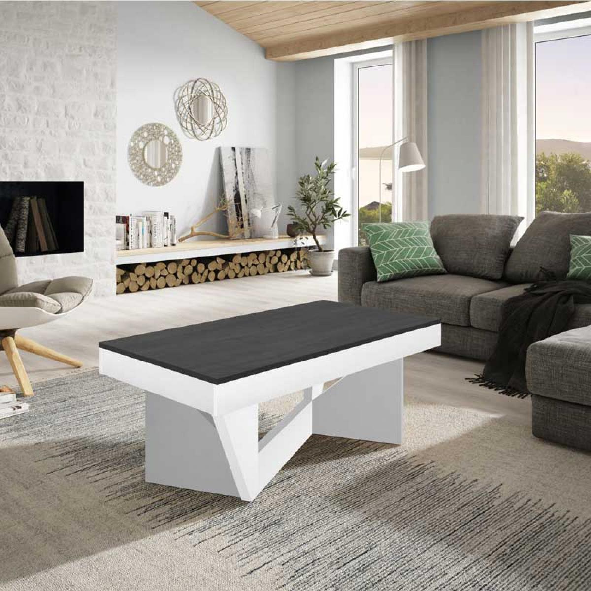 Tousmesmeubles Table basse relevable Chêne blanc/Marbre gris - POPLO