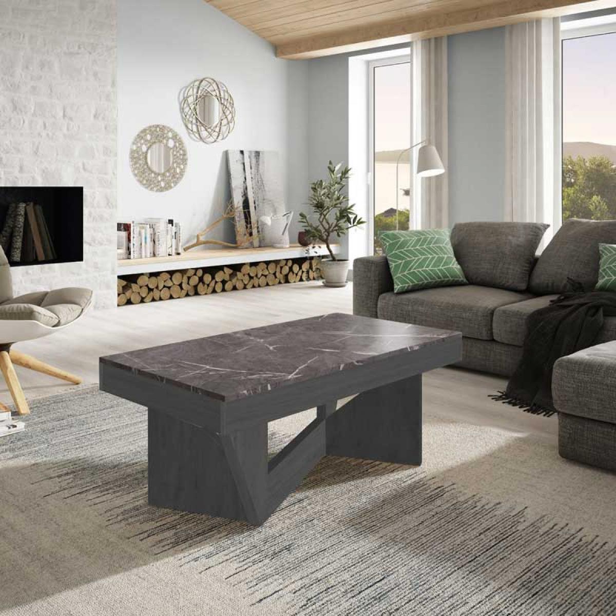 Tousmesmeubles Table basse relevable Chêne gris/Marbre gris - POPLO