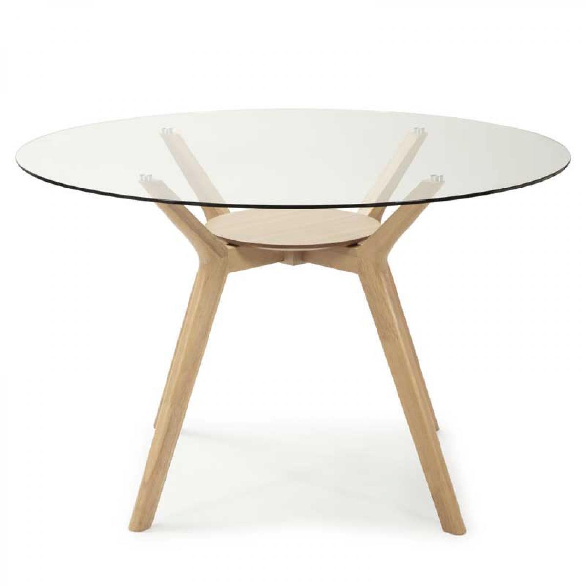 Tousmesmeubles Table de repas ronde Verre/Bois - LOJE