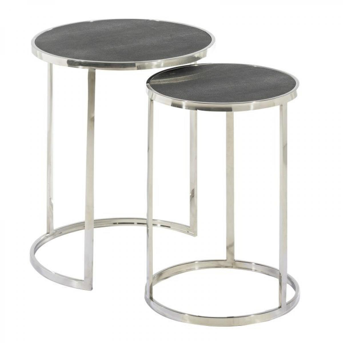Tousmesmeubles Tables gigognes Simili cuir Argent/Noir - ISALYS n°2
