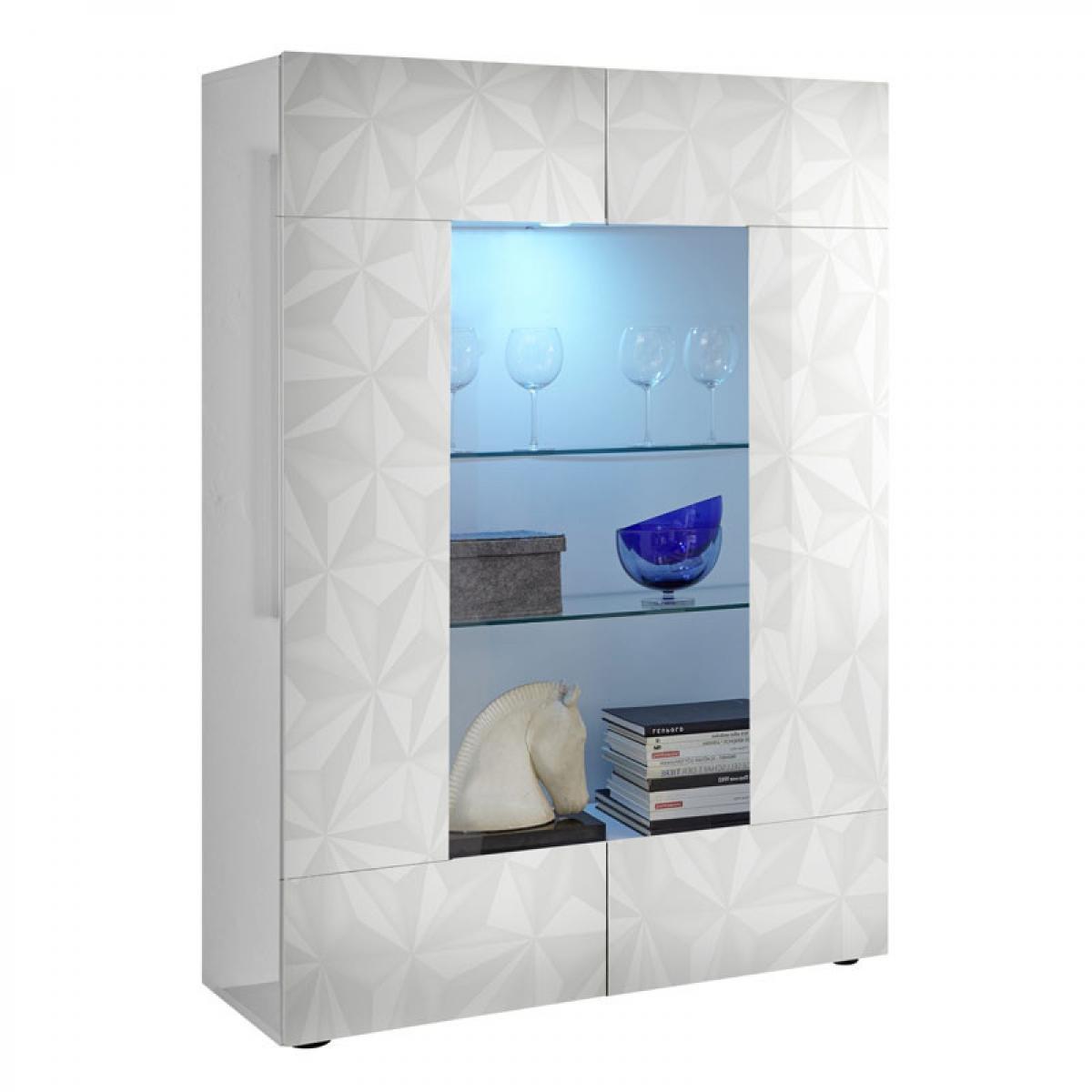 Tousmesmeubles Vitrine 2 portes Laqué Blanc brillant à LEDs - KIOO