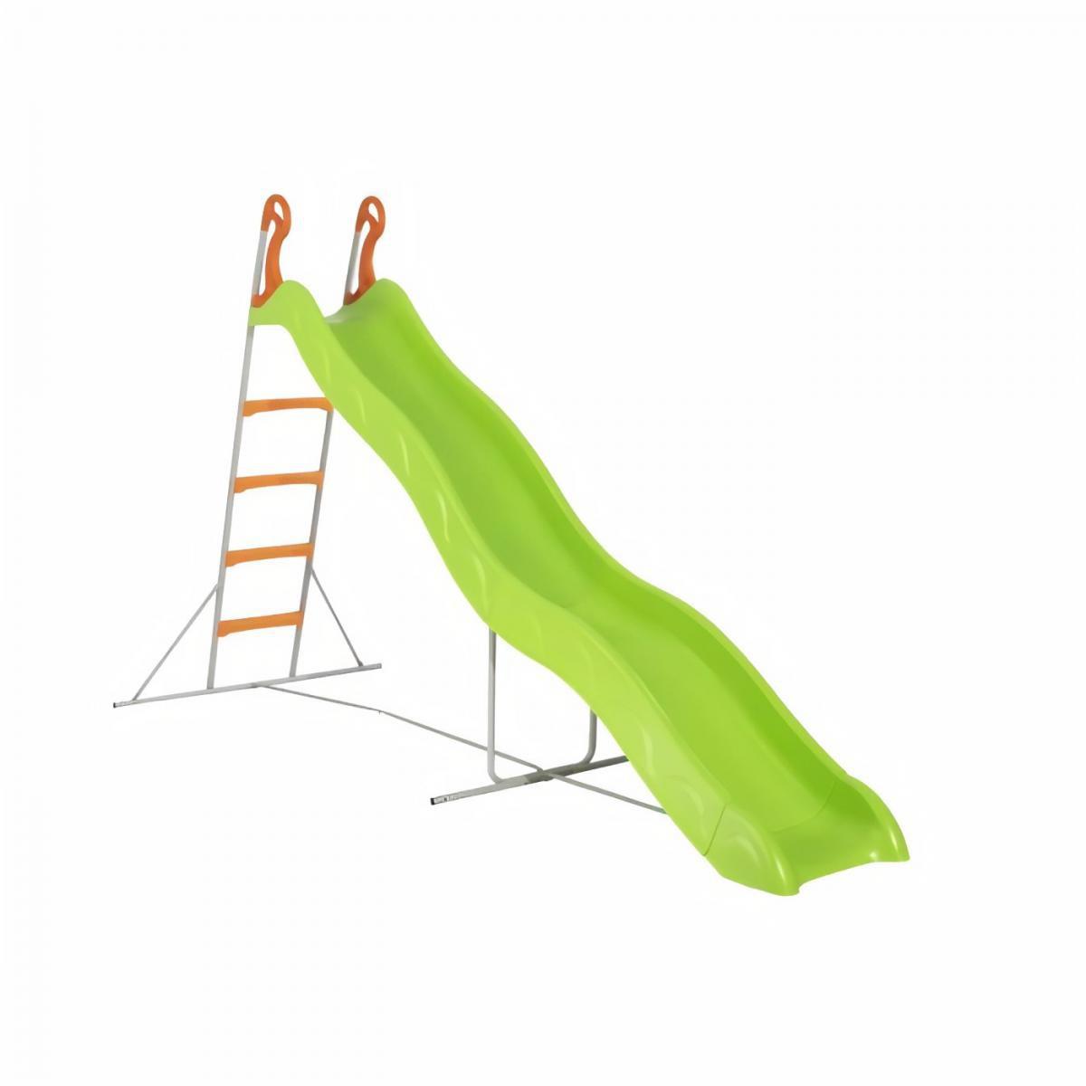 Trigano Toboggan PYROU de 3,32m de glisse , coloris vert avec 4 echelons anti-dérapant coloris orange, structure métal coloris g