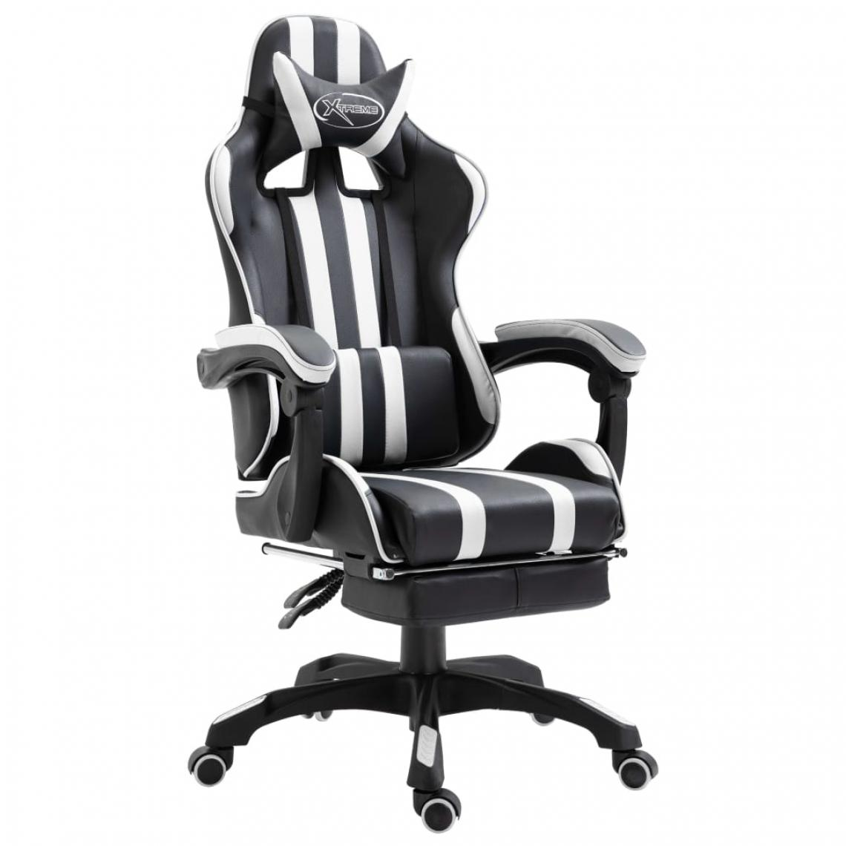 Uco UCO Chaise de jeu avec repose-pied Blanc Similicuir