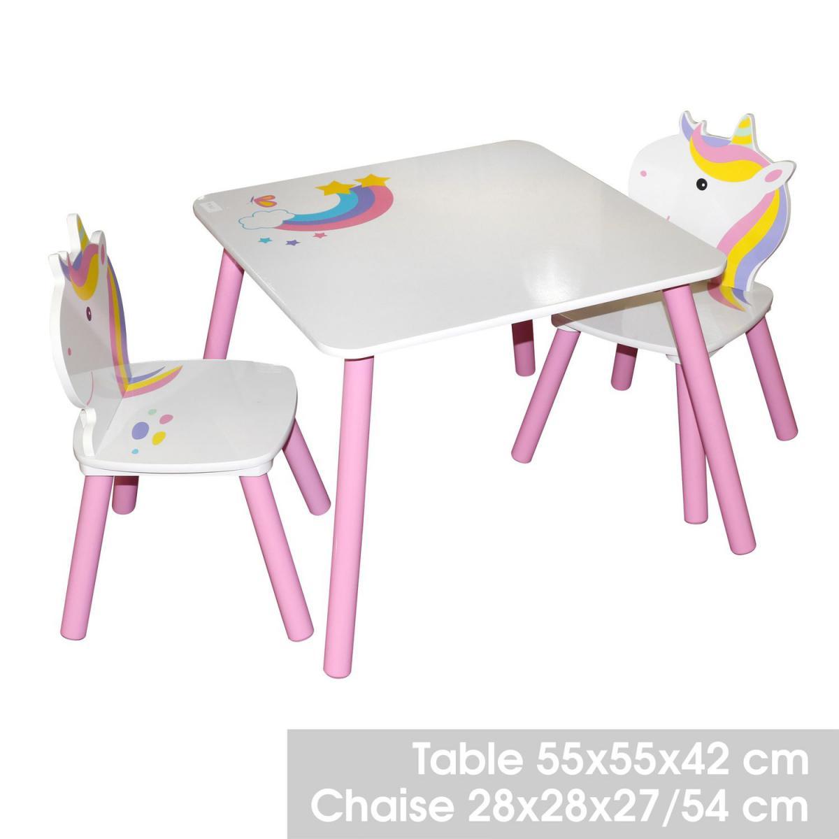 Urban Living Bureau avec chaise enfant design Licorne - Blanc et rose