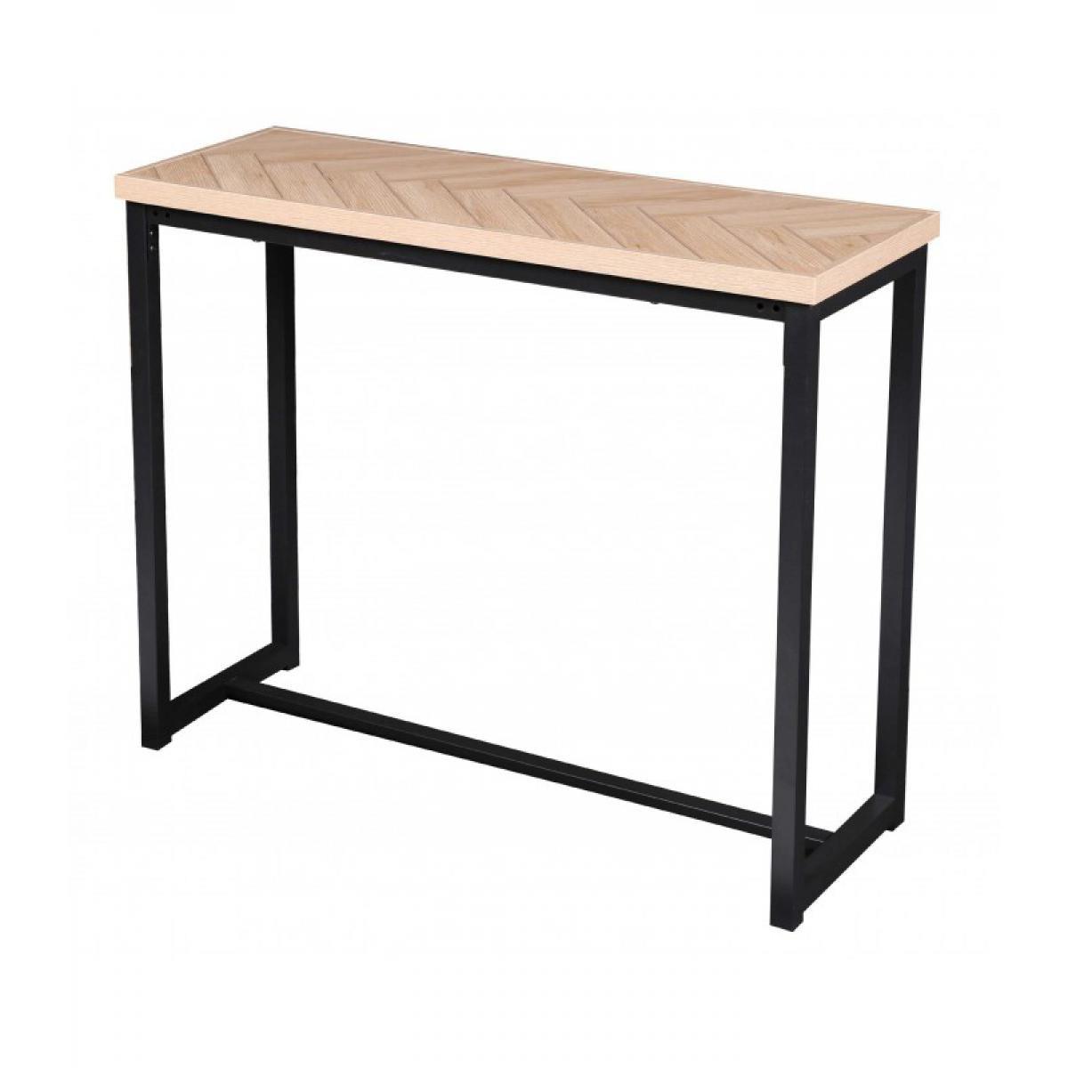 Urban Living Console design bois et métal Haussmann - L. 100 x H. 78 cm - Noir