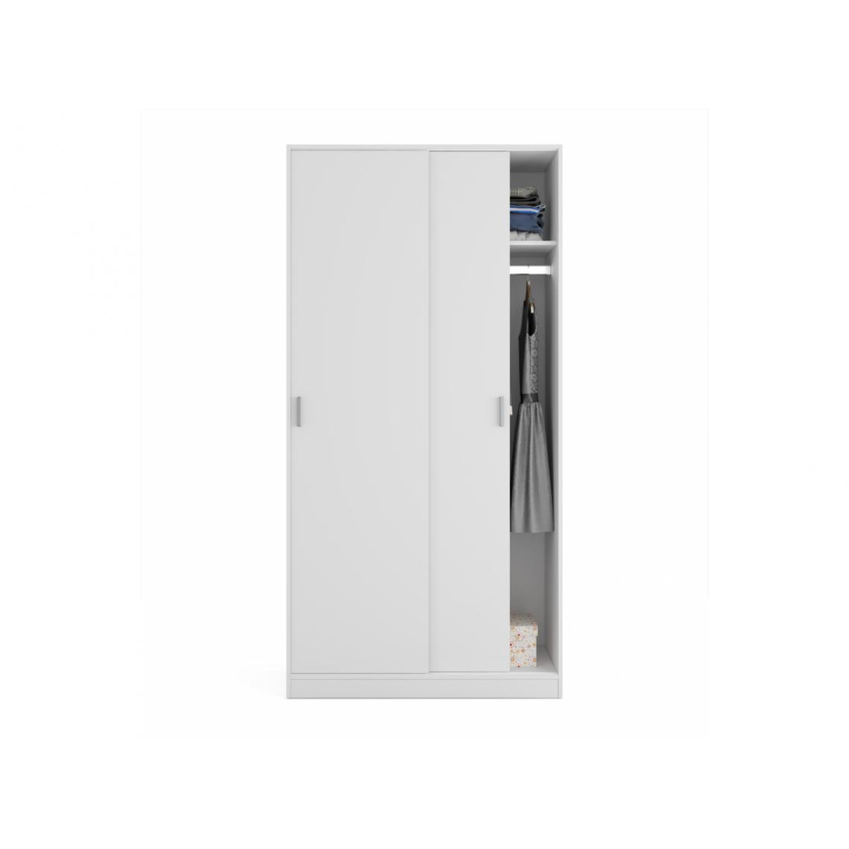 Usinestreet Armoire ENZO 2 portes coulissantes L100 x H200cm - Blanc