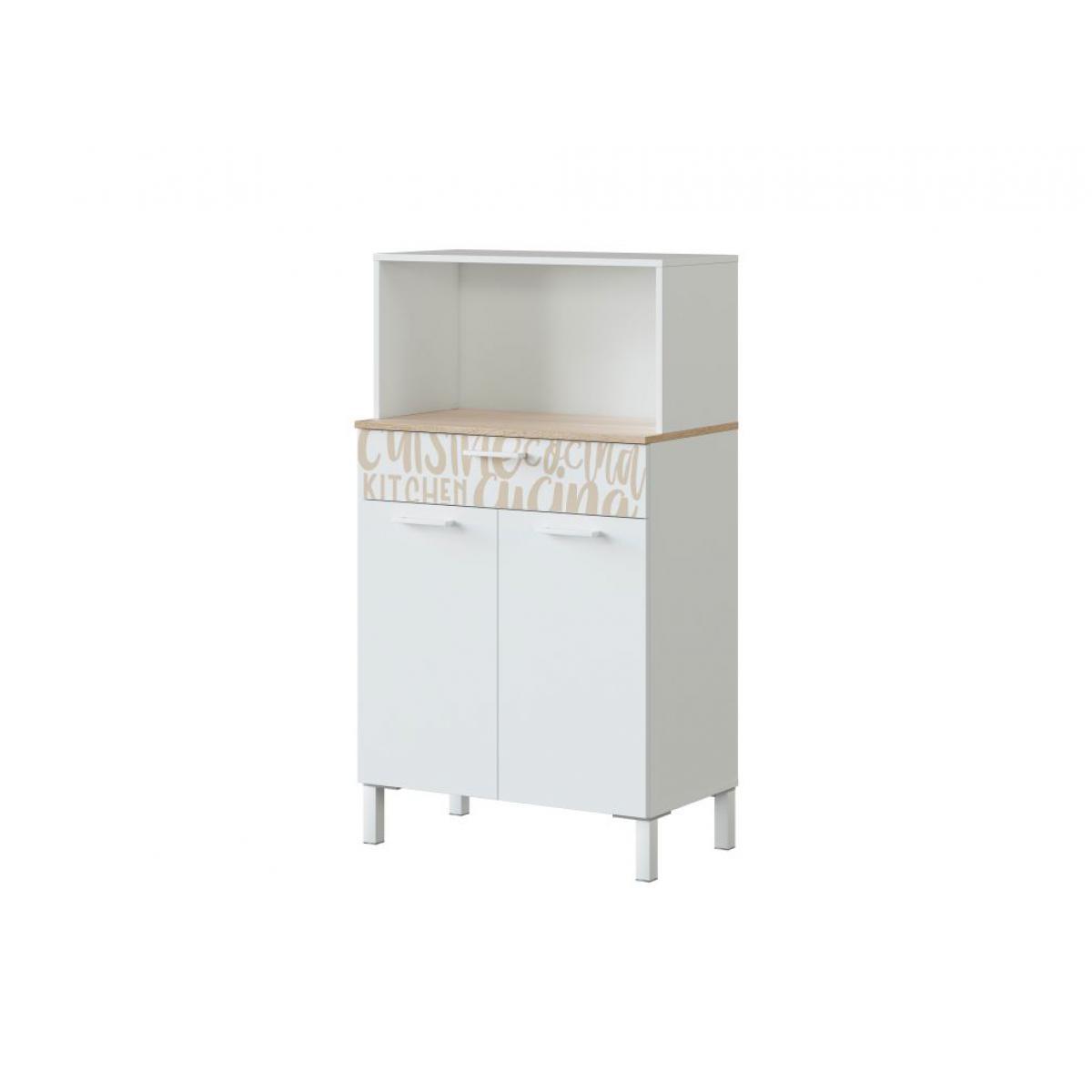 Usinestreet Buffet de cuisine ÉMILE 2 portes et 1 tiroir L72 x H126cm - Blanc / Bois motif