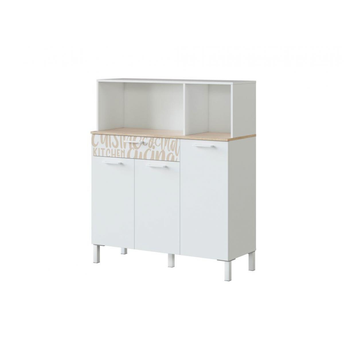 Usinestreet Buffet de cuisine ÉMILE 3 portes et 1 tiroir L108 x H126cm - Blanc / Bois motif