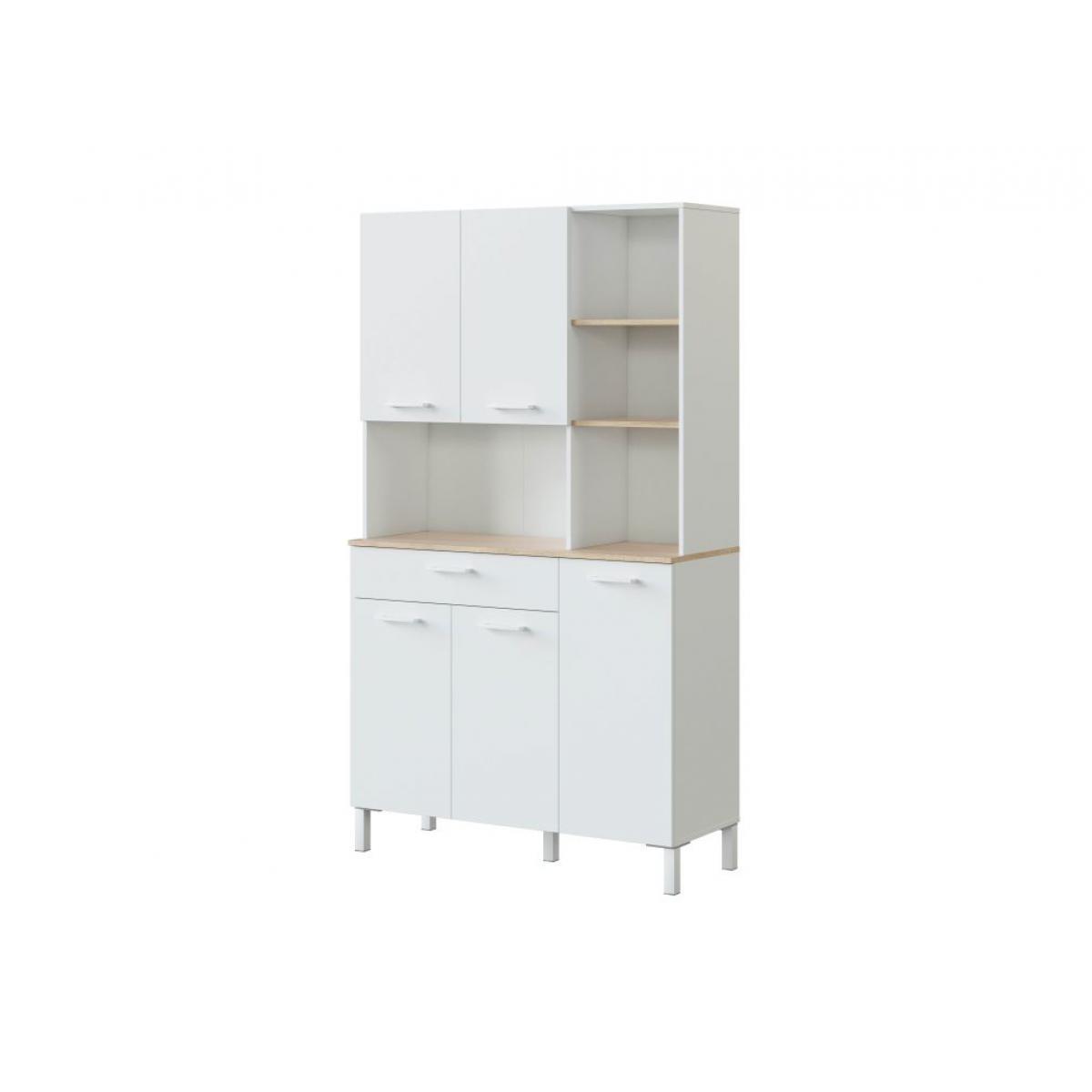 Usinestreet Buffet de cuisine ÉMILE 5 portes et 1 tiroir L108 x H186cm - Blanc / Bois