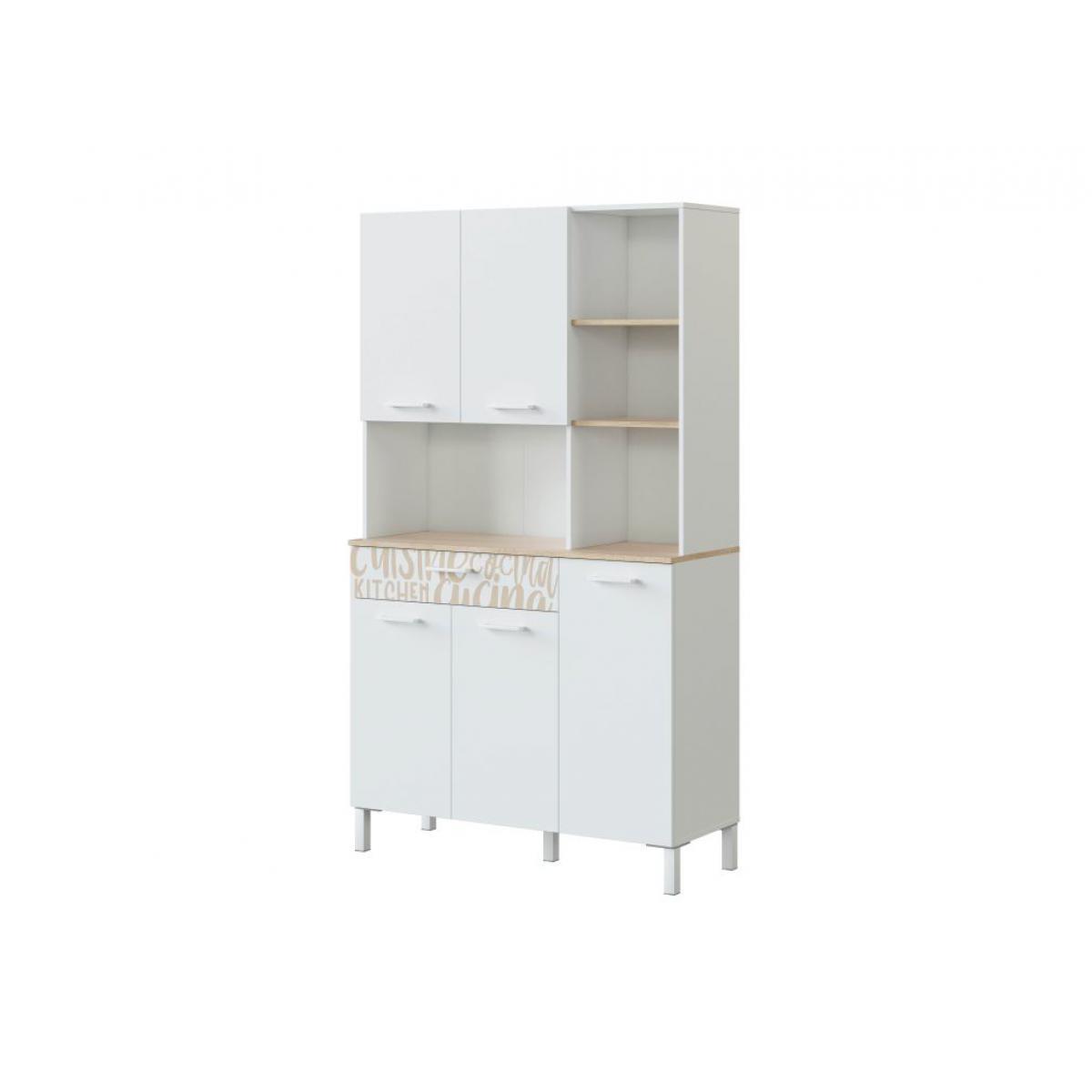 Usinestreet Buffet de cuisine ÉMILE 5 portes et 1 tiroir L108 x H186cm - Blanc / Bois motif