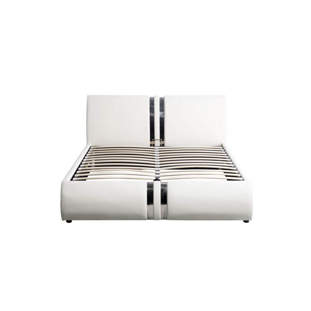 Usinestreet Cadre de lit DORY avec tête de lit, sommier à lattes et coffre de rangement en simili - Couleur - Blanc, Largeur - 160 c